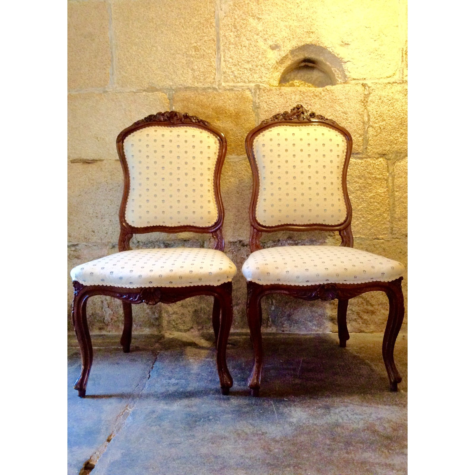 Hicks And Bergere Style Walnut Dining Chairs Pair