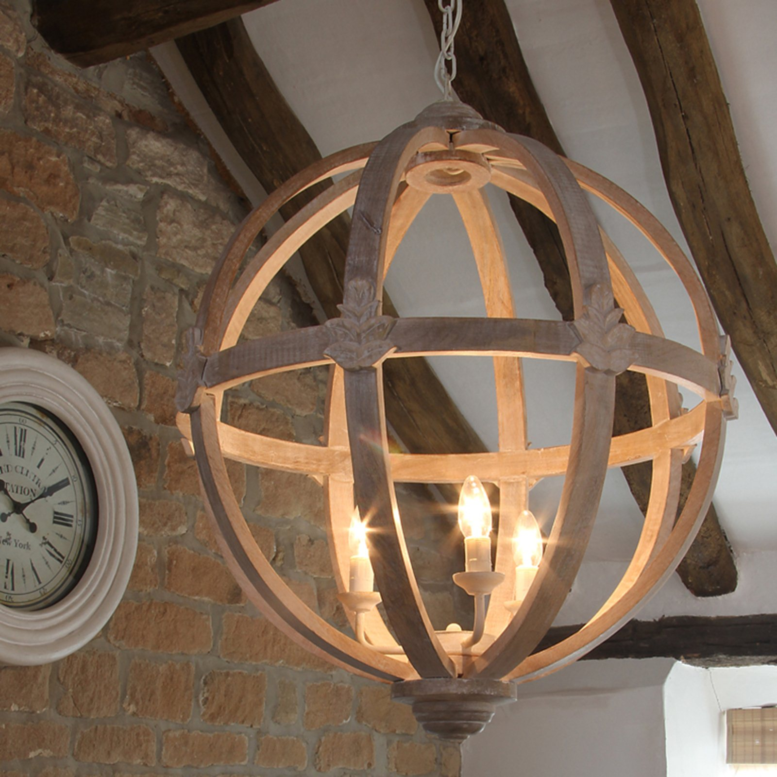 Hanging Light Round: HICKS And HICKS Dene Round Wood Pendant Light