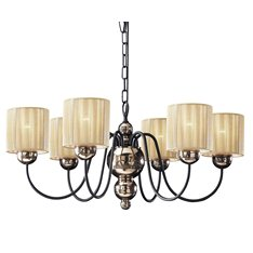 Garbo 6 light chandelier in bronze w/cream shades