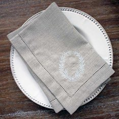 Natural Linen Wreath napkin Set of 4