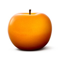 Orange Glazed Ceramic Apple Sculpture
