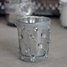 Silver Jewel candle Holder (Pair)