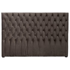 Smoked Grey Velvet Button Headboard