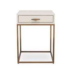 Square Ivory Shagreen Bedside Table