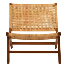 Teak and Rattan Outdoor Lounge Chair