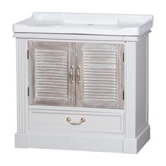 White Vanity Unit with louvered Doors