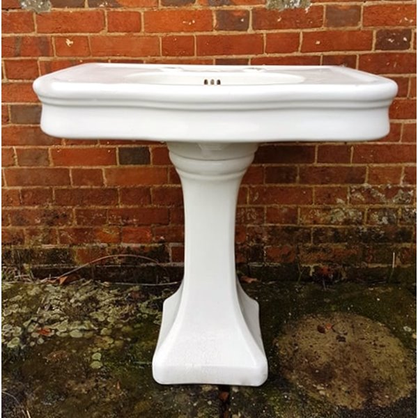 Antique bow Fronted Basin on Pedestal