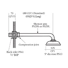 Barber Wilson Standard Shower Arm with rose Image