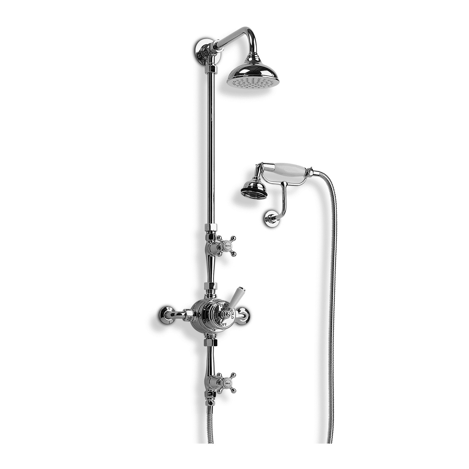 Thermostatic shower mixer with hand shower and overhead arm Image
