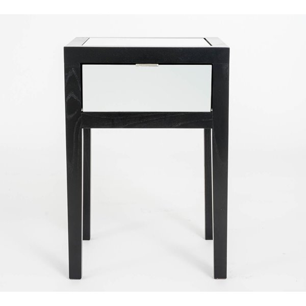 Black and Mirror Bedside Table