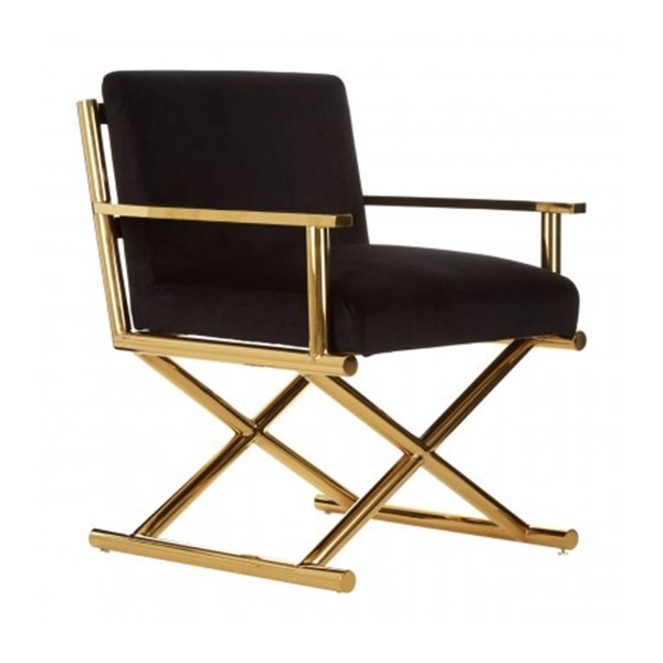 Black & Gold Velvet Directors Chair