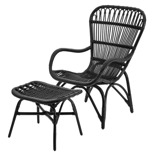 Black Rattan Armchair and Footstool