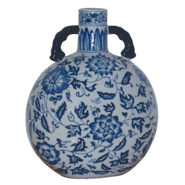 Blue and White Porcelain Pilgrim Flask