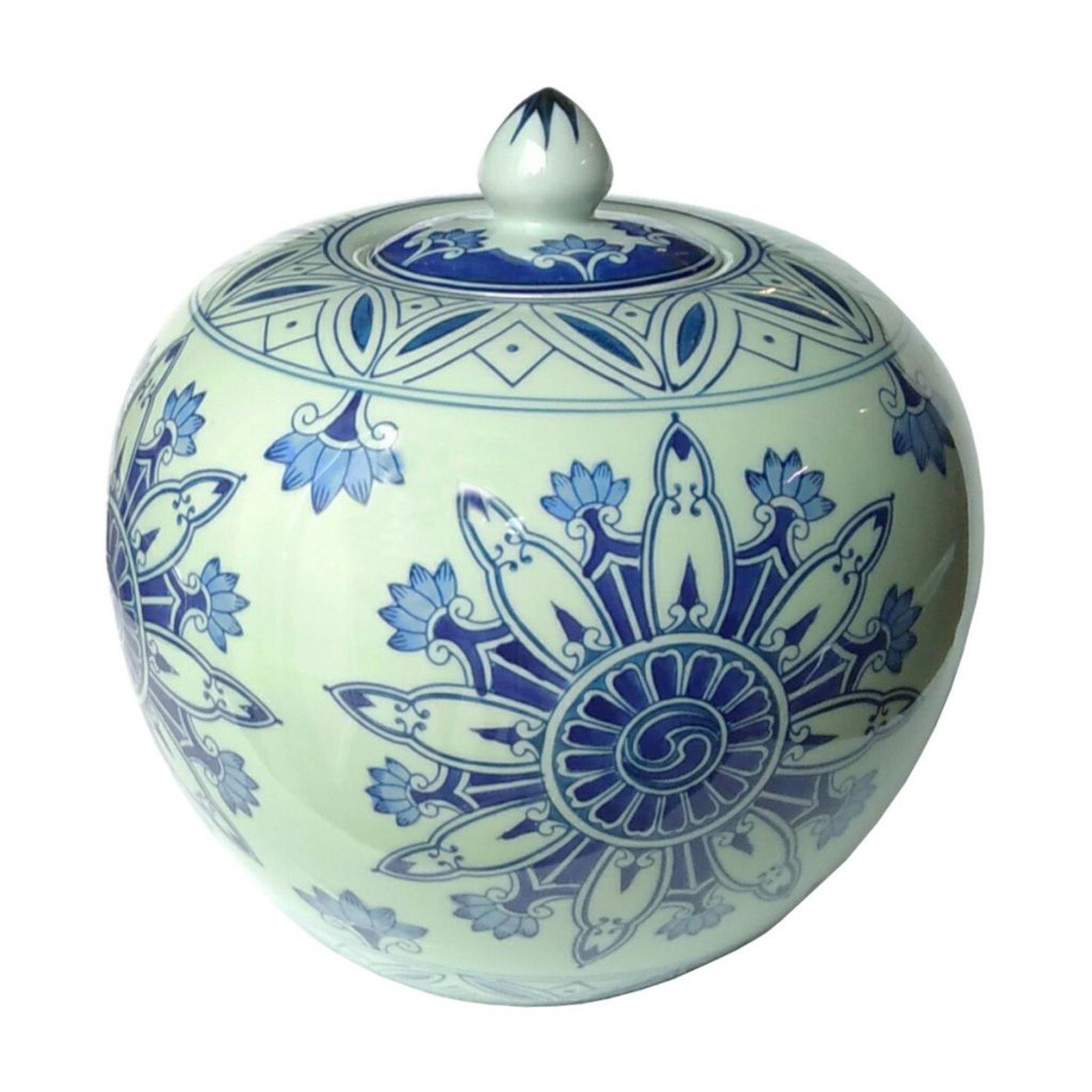 Blue And White Round Ginger Jar