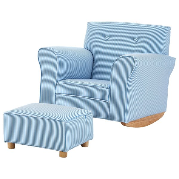 Childs Blue and White Rocking Armchair with Footstool