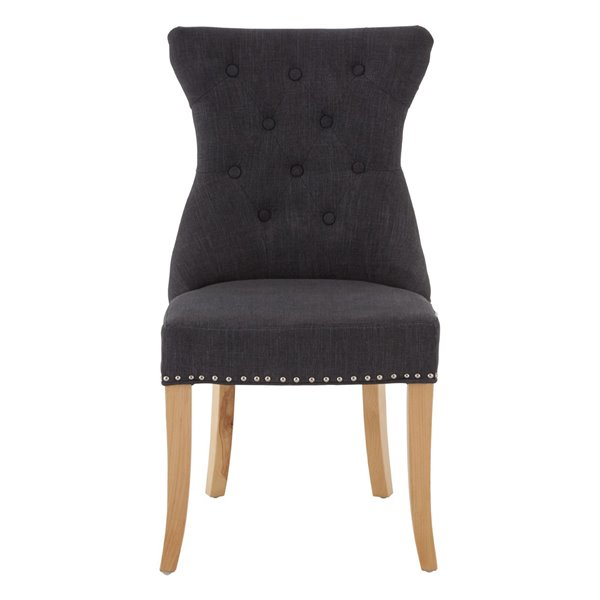Dark Grey Linen Ring Back Dining Chair