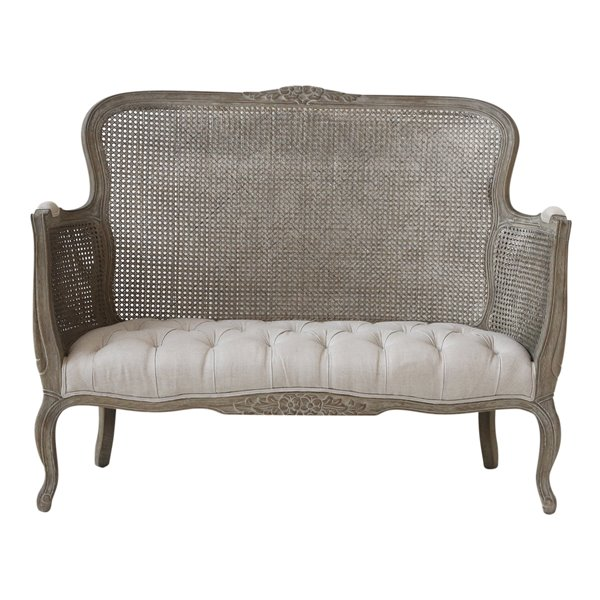 French Cane and Linen 2 Seat Sofa