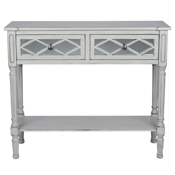 Grey Mirrored Pine Console Table