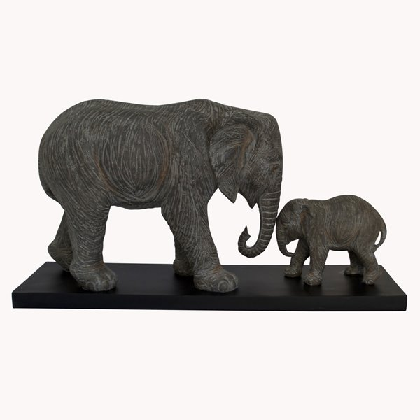 Grey Mother and Baby Elephant Sculpture