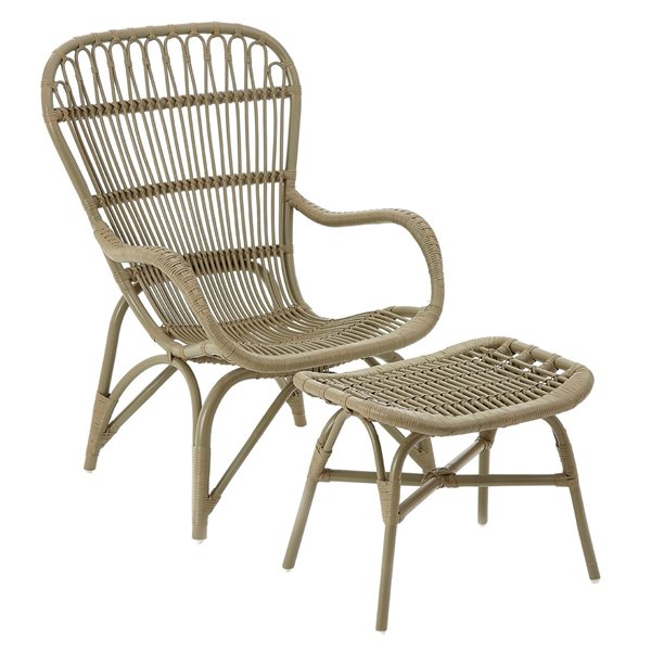 Grey Rattan Armchair and Footstool