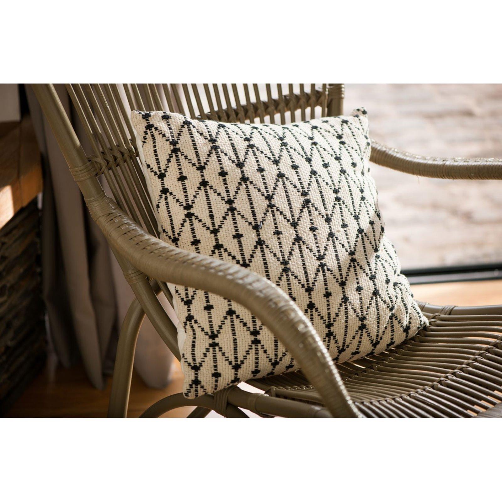 Grey Rattan Armchair and Footstool