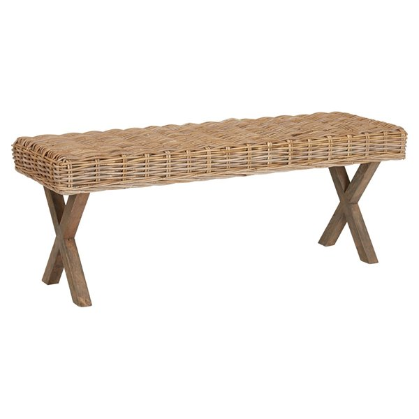 Kuba Rattan Grey Wash Bench