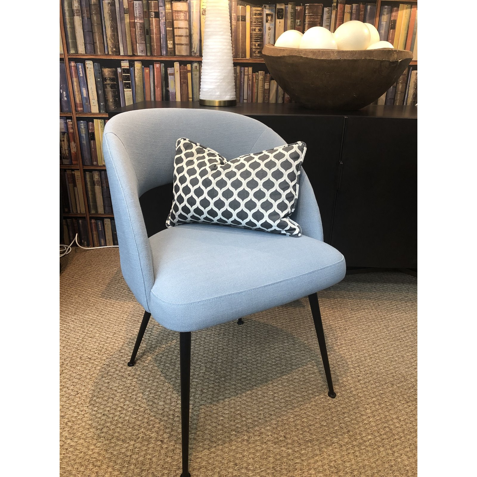 Picture of: Millbrook Blue Linen Dining Chair