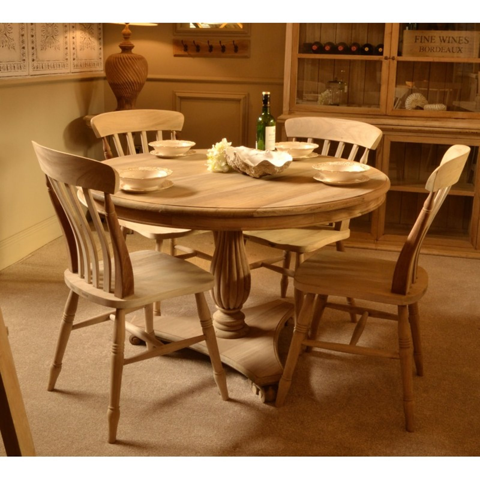 Natural Wood 120cm Dining Table