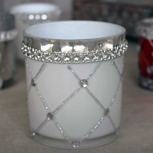 Pair White and Jewel Large Candle Holder