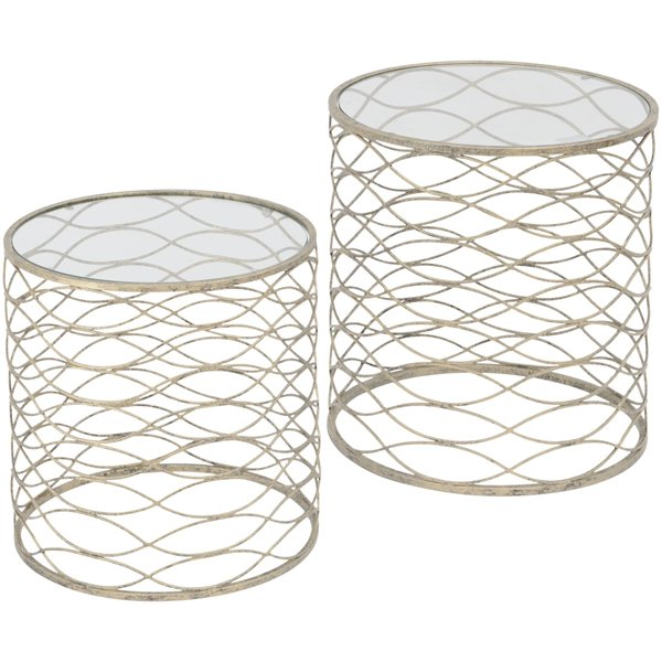 Set of 2 round gold side Tables