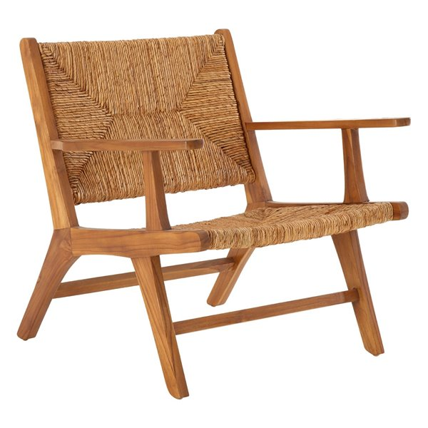 Teak and Rattan outdoor Armchair