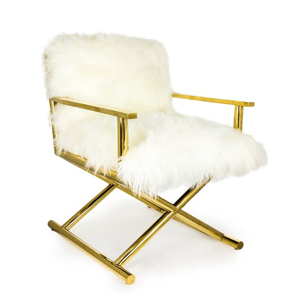 White Faux Fur and Gold Directors Chair