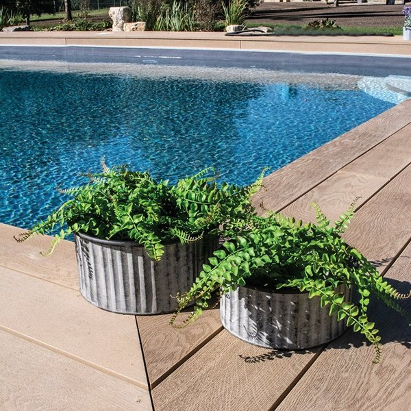 Zinc Ribbed Planters Set of 2